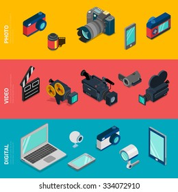 Flat 3d isometric digital electronics computer photo video equipment icon set concept web infographics vector. Laptop tablet PC webcam camera DSLR camcorder security smart phone mobile app.