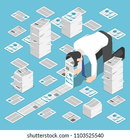 Flat 3d isometric a lot of document come out from businessman head. Hardworking and information overload concept.
