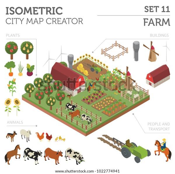 Flat 3d Isometric Farm Land City Stock Vector (Royalty Free