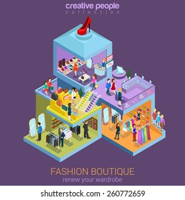 Flat 3d isometric fashion boutique shopping mall sale concept vector. Clothes, clothing bags jewelry shoes mannequin indoor interior floors walking shoppers. Multi-use retail store business concept.