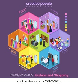 Flat 3d isometric fashion shopping mall cell abstract interior room customers clients buyers workers staff concept vector infographics. Creative business people in cells collection.