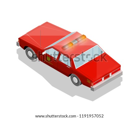 Flat 3 D Isometric Fire Dept Car Stock Vector (Royalty Free