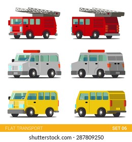 Flat 3d isometric funny city emergency service road transport icon set. Fire department police dept van SWAT armored car taxi minibus. Build your own world web infographic collection.