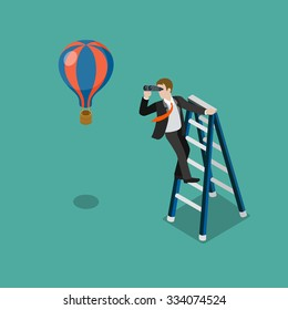 Flat 3d isometric future look forecast concept web infographics vector illustration. Businessman on stepladder looking through binoculars on balloon. Creative people collection.