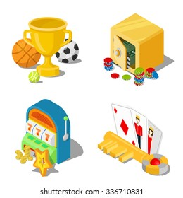 Flat 3d isometric gambling casino gaming stakes concept web infographics vector illustration icon set. Cup trophy sports safe money caps one-armed bandit key cards Black Jack.