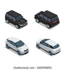 Flat 3d isometric high quality city transport icon set. Passenger car sportscar SUV lux high class sedan hatchback sport utility vehicle. Back front view. Web infographic collection.