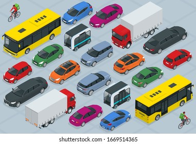 Flat 3d isometric high quality city transport car icon set. Bus, bicycle courier, Sedan, van, cargo truck, off-road, bike, mini and sport cars. Urban public and freight vehihle