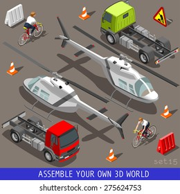Flat 3d isometric high quality vehicle tiles icon collection. Helicopter truck semi-trailer and an happy cyclist with bicycle bike. 3d world web infographic set Icon.