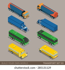 Flat 3d isometric high quality city long vehicle transport icon set. Tank oil cistern truck intercity tourist school bus. Build your own world web infographic collection.