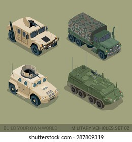 Flat 3d isometric high quality military road transport icon set. Patriot armored personnel carrier mil truck cargo ammunition ammo van. Build your own world web infographic collection.