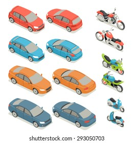 Flat 3d isometric high quality city transport icon set. Car bicycle scooter motorbike.