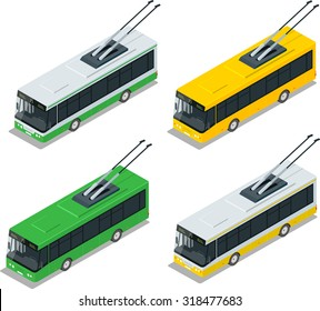 Flat 3d isometric high quality city transport icon set. Vector city electric trolleybus collection.Vehicles designed to carry large numbers of passengers.