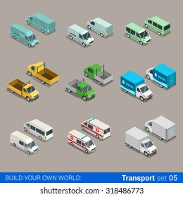 Flat 3d isometric high quality city freight cargo transport icon set. Car truck van construction ambulance delivery water micro bus. Build your own world web infographic collection.