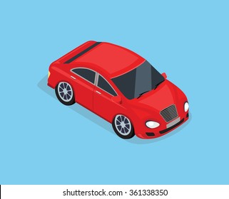 Flat 3d isometric high quality city transport icon. Sedan automobile. Car for isometric world. Isometric car sportscar, SUV luxury high class sedan. Red isometric car. Isolated car icon top view