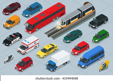 Flat 3d isometric high quality city transport car icon set. Sedan, van, cargo truck,  off-road, bus, scooter, motorbike and riders. Urban public and freight transport for for infographics, game