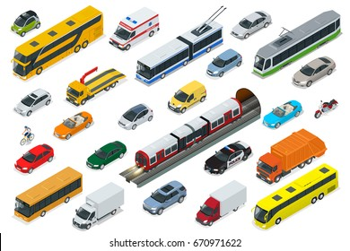 Flat 3d isometric high quality city transport car icon set. Sedan, van, cargo truck, off-road, bus, scooter, motorbike and riders Urban public and freight transport for for infographics, game Cars