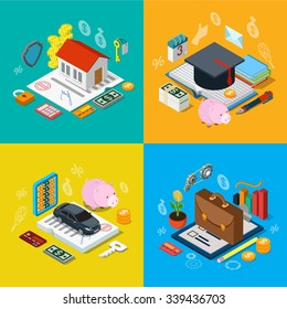 Flat 3d isometric home mortgage tuition fee credit car loan plan equity stock exchange portfolio icon set concept web infographics vector illustration. Financial banking knowledge education estate