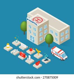 Flat 3d isometric hospital building, emergency ambulance car and isometric medical icons set isolated, vector illustration