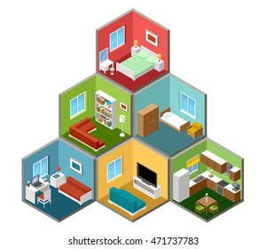 Flat 3d isometric house interior. Vector