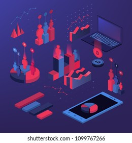 Flat 3d isometric infographic for your business presentations. Big set of infographics with data icons, world map charts and design elements