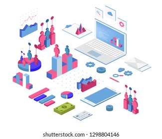Flat 3d isometric infographic for your business presentations. Big set of infographics with data icons, charts and design elements