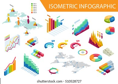 Flat 3d isometric infographic for your business presentations. Big set of infographics with data icons, world map charts and design elements.