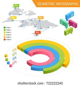 Flat 3d isometric infographic for your business presentations. Big set of infographics with data icons, world map charts and design elements. For business presentations and reports.
