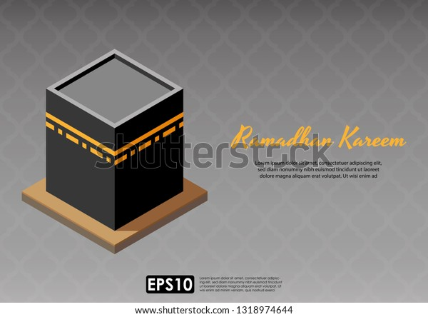 Flat 3d Isometric Kaaba Mecca Over Stock Vector (Royalty