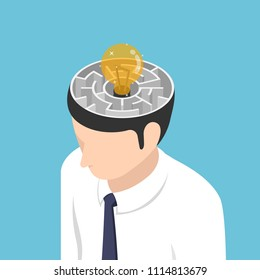 Flat 3d isometric light Bulb of idea is in the center of maze inside businessman head. Idea concept.