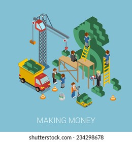 Flat 3d isometric making money web infographic concept vector. Crane and people making big $ USD dollar sign. People constructing manager boss foreman pallet. Business, commerce, money-making concept.