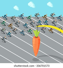 Flat 3d isometric massive lure mass insanity herd instinct social engineering business concept web infographics vector illustration. Businessmen crowd running after carrot. Creative people collection.