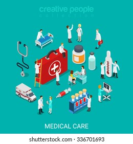 Flat 3d isometric medical services doctor nurse first aid kit concept web infographics vector illustration. Micro hospital staff pill syringe ambulance diagnosis icon. Creative people collection