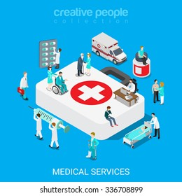 Flat 3d isometric medical services doctor nurse first aid concept web infographics vector illustration. Big case micro hospital staff pill syringe evacuation ambulance icon. Creative people collection