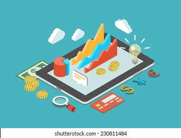 Flat 3d isometric mobile application, business analytics, finance analysis app, sales statistics, monetary concept infographic vector. Collage icons: chart graphs, tablet, coins, credit card, dollar.