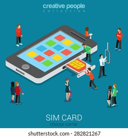 Flat 3d isometric mobile carrier SIM card insert process concept. Micro people stick nano SIM into smartphone. Connectivity generation concept. Build creative people world constructor collection.