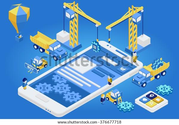 Vector de concepto de diseño móvil isométrico plano 3d. Gente grúa creando interfaz en la tablet telefónica.