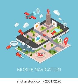 Flat 3d isometric mobile navigation web infographic concept vector. Paper map touch screen gps tablet layer marker points POI satellite search magnifier city building route tracking pin street view.