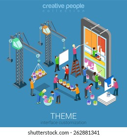 Flat 3d isometric mobile theme user interface customization web infographic concept vector. Crane people painting changing interface on phone tablet. Usability, mockup, wireframe, UI/UX concept.