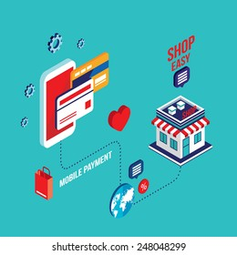 Flat 3d isometric modern design Mobile payment Online shopping and e-commerce concept Vector illustration