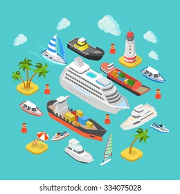 Flat 3d isometric ocean sea nautical water transport logistics concept web infographics vector illustration icon set. Cruise liner container longboat yacht jetski motor boat ship tropical beach island