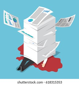 Flat 3d isometric overworked businessman under the stack of paper, hard working concept
