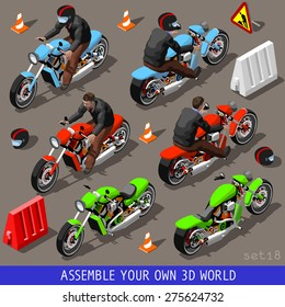 Flat 3d Isometric people High Quality Vehicle Tiles Icon Collection. Motorbiker with Motorcycle motor bike motor cycle. Assemble your own 3d World Web Infographic Set.