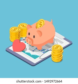 Flat 3d isometric piggy bank and stethoscope with piles of coins. Financial health and health insurance concept.