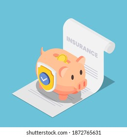 Flat 3d Isometric Piggy Bank Full of Money with Shield on The Insurance Document. Money Protection and Financial Saving Insurance Concept.