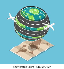 Flat 3d isometric plane and transportation road circled around the world that floating on map. Global transportation and world travel concept.