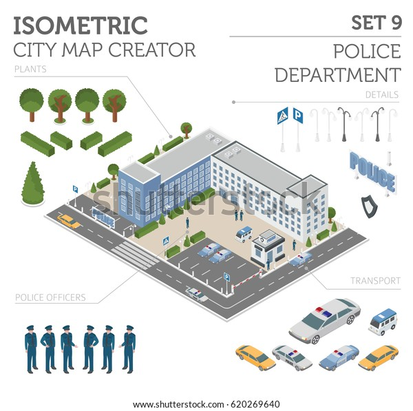 Flat 3d Isometric Police Department City Stock Vector