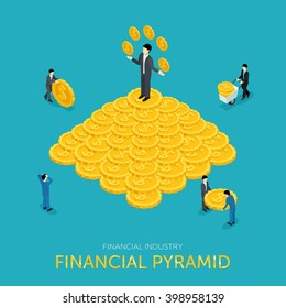 Flat 3d isometric pyramid scheme. Managing money, attraction of investments. The actual concept of deception, fraud on web infographics. Vector illustration