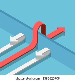 Flat 3d isometric red arrow find a way to cross the wall to success. Business solution concept.