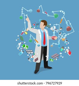 Flat 3d isometric science lab experiment research pharmaceutics chemical concept web infographics vector illustration. Scientist dropper flask test tube. Medicine 