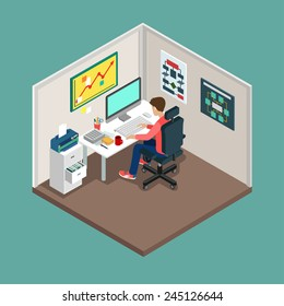 Flat 3d isometric SCRUM process concept. Web style modern infographics with digital office workplace. Programmer, business analyst, code developer junior / senior coder / team leader / product owner.